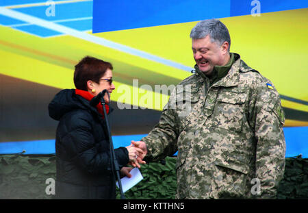 Yavoriv, Ukraine – Marie Yovanovitch, the United States Ambassador to Ukraine shakes hands with Ukrainian President - Stock Photo