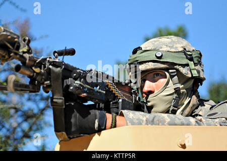Spc. Christopher Miller of Alpha Company, 1-148 Infantry Regiment, 37th Infantry Brigade Combat Team, Ohio National - Stock Photo