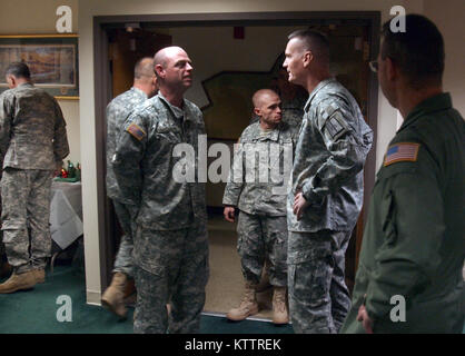 Maj. Gen. Patrick Murphy and Deputy Adjutant General Brig. Gen. Anthony German greet Division of Military and Naval - Stock Photo
