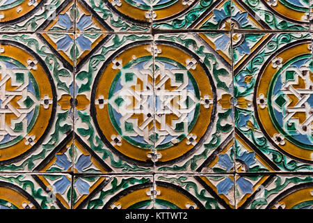 Ornamental old tiles. Seville. Spain. 16th century. - Stock Photo