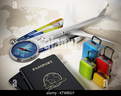 Passports, luggages, tickets and compass on world map background. 3D illustration. - Stock Photo