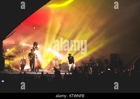 The American hip hop, rap and soul band The Roots performs a live concert Vanguard Festival 2014 in Copenhagen. - Stock Photo