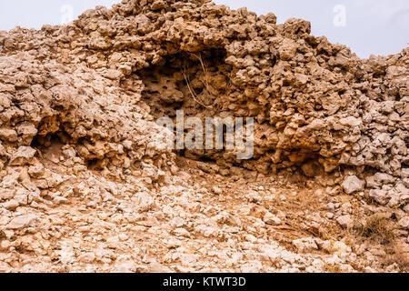 The ornate limestone denudation in the desert near Riyadh, Saudi Arabia - Stock Photo