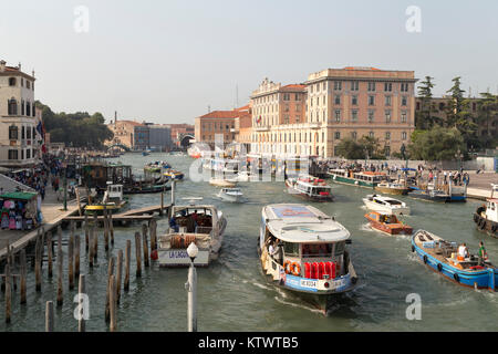 Italy, Venice, view from the ponte degli Scalzi along the busy canal towards the ponte della Costituzione. - Stock Photo