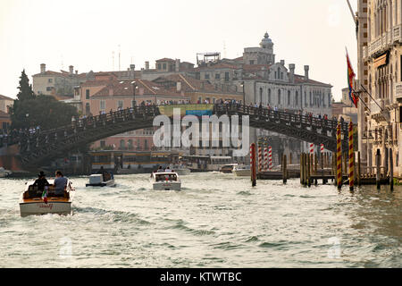 Italy, Venice, view towards the Academia bridge (pont de l'Academie) from a ferry on the Grand Canal. - Stock Photo