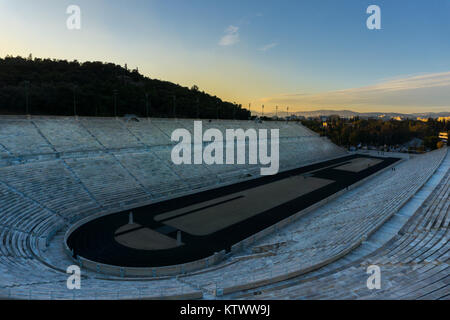 Panoramic view of Panathenaic stadium (Kalimarmaro) in Greece where the first Olympic Games were hosted in 1896. - Stock Photo
