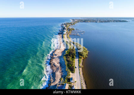 Hutchinson Island Florida Stuart Atlantic Ocean Indian River Ecological Lagoon Ross Witham Beach Sailfish Point - Stock Photo