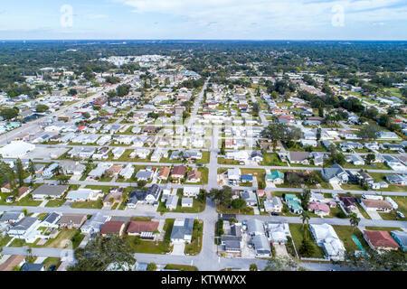 Florida Sarasota Pinecraft Pine Craft Amish Mennonite community houses homes residences aerial overhead bird's eye - Stock Photo