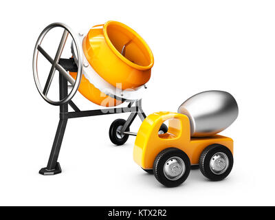 Yellow concrete mixer and mixer truck, isolated white. 3d Illustration - Stock Photo