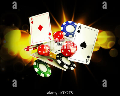 Casino background with cards, chips and craps on bright light, 3d illustration. - Stock Photo