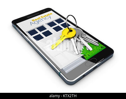 3d Illustration of Mobile app template, online sale or rent concept with keys on screen. isolated white - Stock Photo