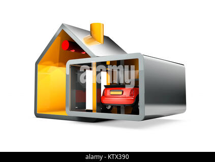 Traditional and modern house. Family home, 3d illustration - Stock Photo