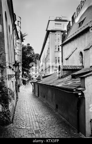 Prague, Czech Republic, September 29, 2017: Josefov is a Jewish quarter of Prague in Czech Republic, black and white photo