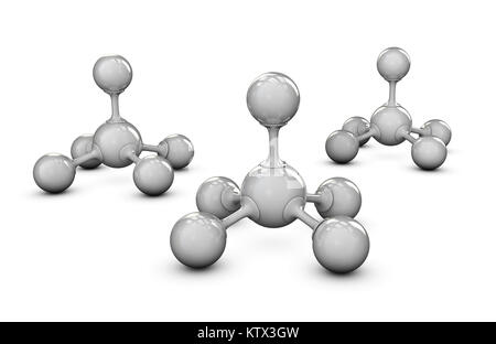 Gray molecule structure 3D illustration, isolated white - Stock Photo