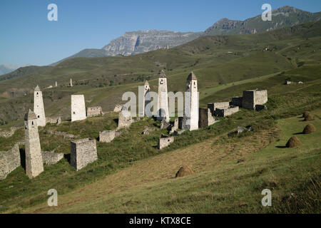 Erzi medieval complex, Ingushetia/Chechnya, North Caucasus, Military ('combat', 'war') towers in the Chechen mountains - Stock Photo