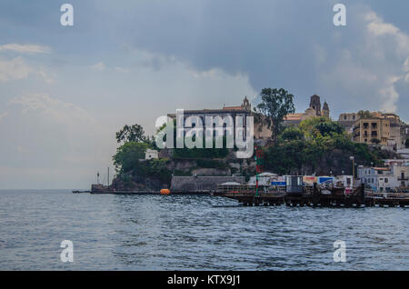 view of the port of the island of lipari and nearby constructions aeolian islands in the Tyrrhenian Sea - Stock Photo