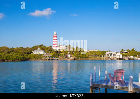 Elbow Reef Lighthouse, the last kerosene burning manned lighthouse in the world, Hope Town, Elbow Cay, Abaco Islands, - Stock Photo
