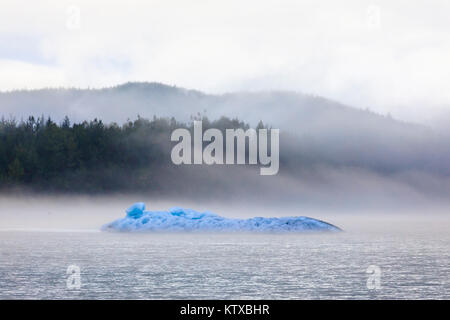 Bright blue iceberg from Mendenhall Glacier, surrounded by mist on Mendenhall Lake, Juneau, Alaska, United States - Stock Photo