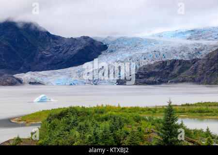 Blue iceberg, blue ice face of Mendenhall Glacier, elevated view, Visitor Centre, Tongass National Forest, Juneau, - Stock Photo