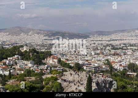 Areopagus Hill (Mars Hill), Ancient Supreme Court, view from Acropolis Hill, Athens, Greece, Europe - Stock Photo