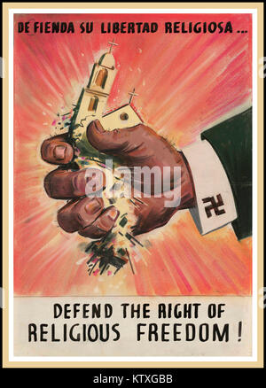 WW2 1940's USA Propaganda poster to Defend the Right of Religious Freedom!  WWII poster by Leon Helguera for the - Stock Photo