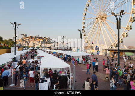 Guayaquil, Ecuador, people on the waterfront development, or Malecon, Guayaquil city, Ecuador, South America - Stock Photo
