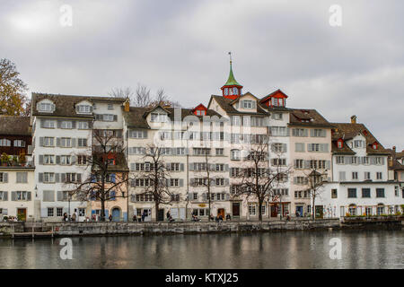 historical buildings at Limmat river, old town of Zurich or Zürich, Switzerland - Stock Photo