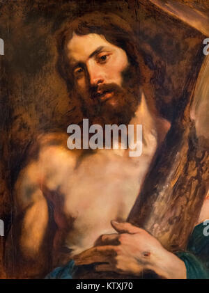 Jesus Christ Carrying the Cross by Sir Anthony van Dyck (1599-1641), oil on canvas, early 1600s - Stock Photo