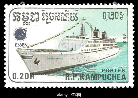 Cambodia - stamp 1988: Color edition on Ships, shows Ocean liner Emerald Seas - Stock Photo