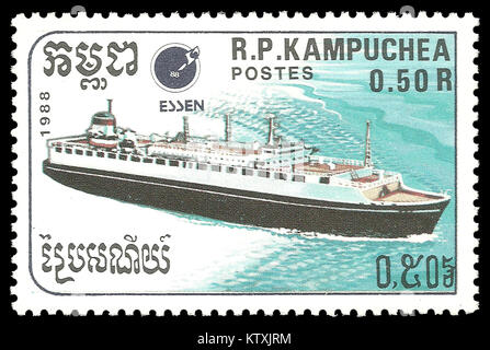 Cambodia - stamp 1988: Color edition on Ships, shows Passenger Liner - Stock Photo