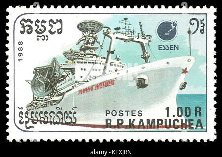 Cambodia - stamp 1988: Color edition on Ships, shows Communications Ship - Stock Photo