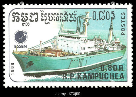Cambodia - stamp 1988: Color edition on Ships, shows Cargo ship - Stock Photo