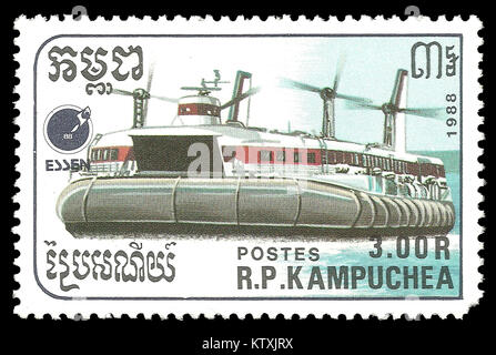 Cambodia - stamp 1988: Color edition on topic of Ships, shows Hovercraft - Stock Photo