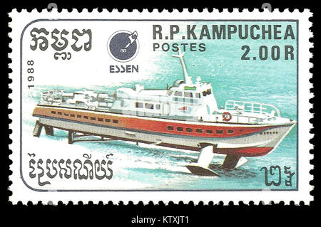 Cambodia - stamp 1988: Color edition on topic of Ships, shows Hydrofoil - Stock Photo