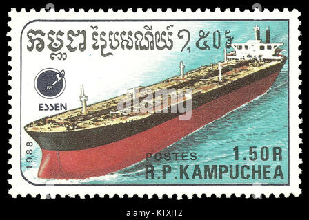 Cambodia - stamp 1988: Color edition on topic of Ships, shows Tanker - Stock Photo