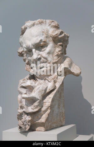 Spanish painter Francisco Goya. Bust by Spanish sculptor Mariano Benlliure on display in the Real Academia de Bellas - Stock Photo