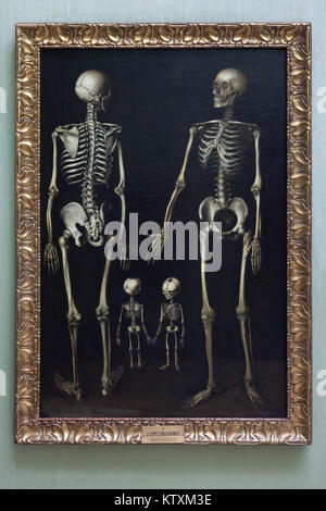 Painting 'Skeleton Family' by Spanish painter José López Enguídanos y Perlés (1760-1812) on display in the Real - Stock Photo