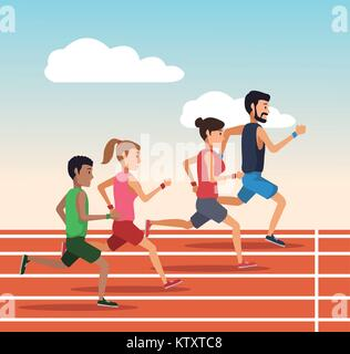 People running on track - Stock Photo