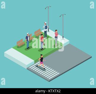 Isometric people in park - Stock Photo