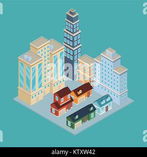 Isometric city 3d - Stock Photo