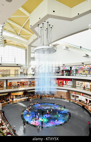 Singapore,Shoppes at Marina Bay Sands. During the Christmas festive season, a large interactive floor was set up - Stock Photo