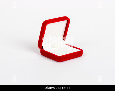 Empty red box for ring on a white background - Stock Photo