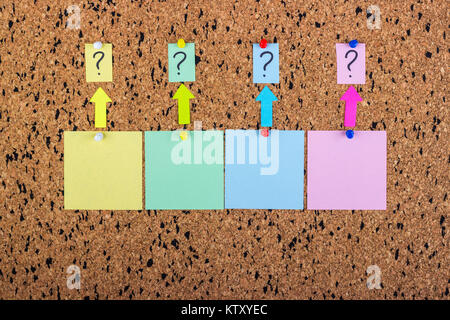 cork desk with a question mark. A sticker with a question mark. Blank sticker. - Stock Photo