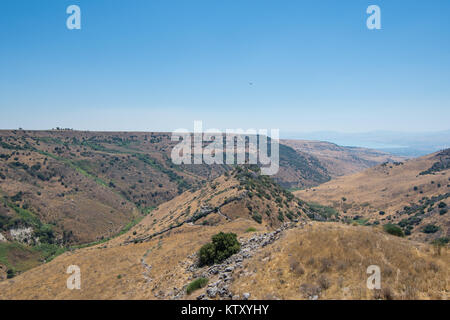 View of the acropolis of ancient Gamla from the 'ancient trail' at the Gamla Nature Reserve at Northern Israel. - Stock Photo