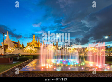 colorful fountain in front of the Grand Palace, Wat Phra Kaew, where is the popular for tourist in Bangkok Thailand - Stock Photo