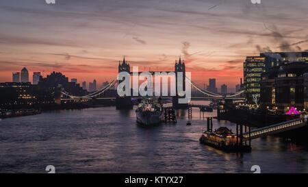 Sunrise Over Tower Bridge - Stock Photo