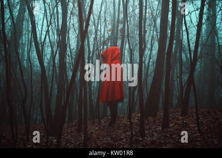Mysterious figure in dead forest. Misty woods - Stock Photo