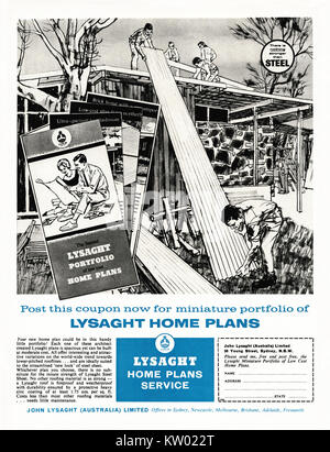 An old advert for John Lysaght architect-designed, self-build houseplans - it appeared in an Australian magazine - Stock Photo
