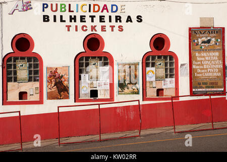 The ticket office at the bull ring in Nazare in Portugal. Bulls are not killed inthe ring during Portugues bull - Stock Photo