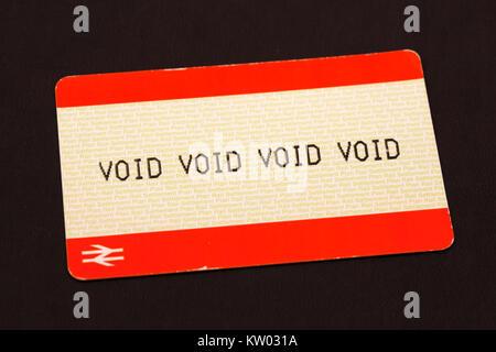 British rail tickets marked with a 'void' stamp. The tickets bear the British Rail logo. - Stock Photo